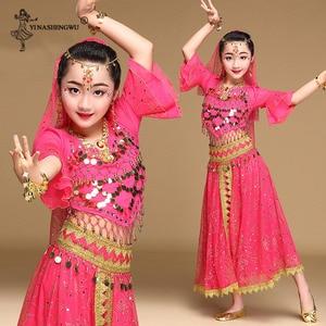 Image 3 - Meninas bollywood trajes de dança do ventre conjunto crianças dança do ventre dança oriental índia sari chiffon palco desempenho terno novo