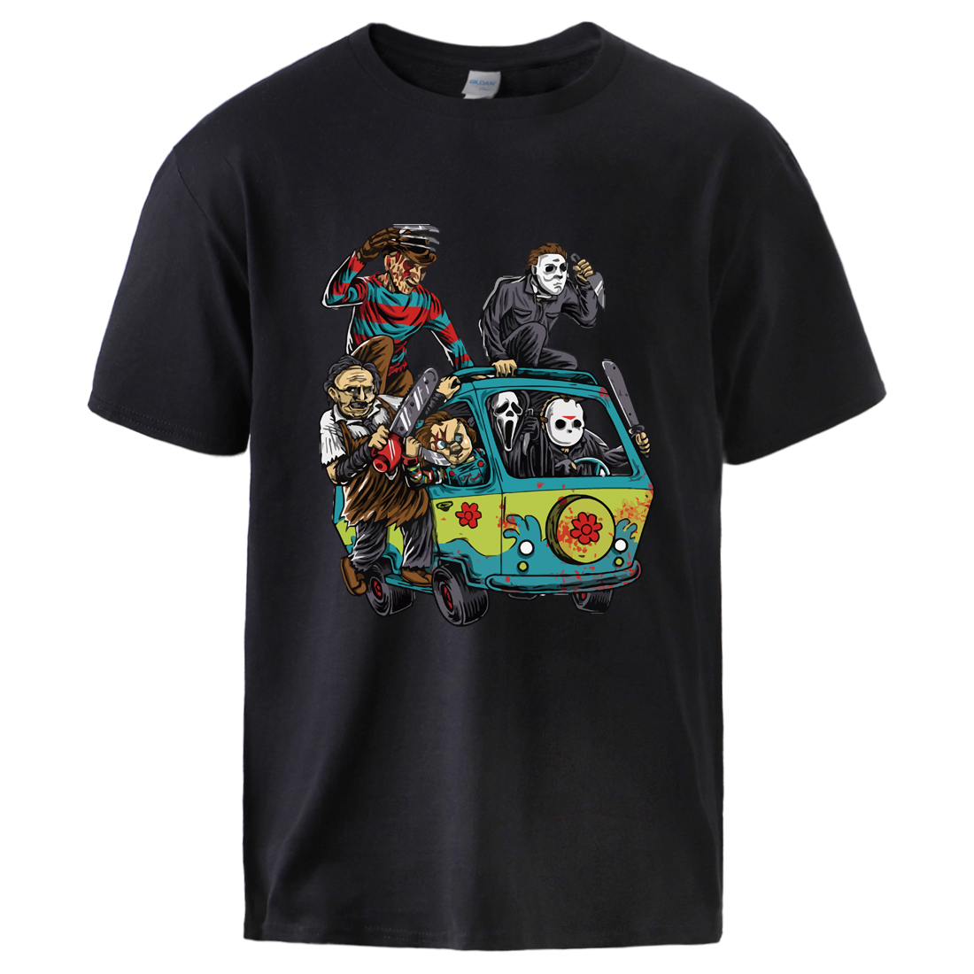 Maniac Park Horror Movie Man Summer Tshirts 2020 Male 100% Cotton T Shirt Top Theme Park Jason Clown Saw Halloween Sportswear
