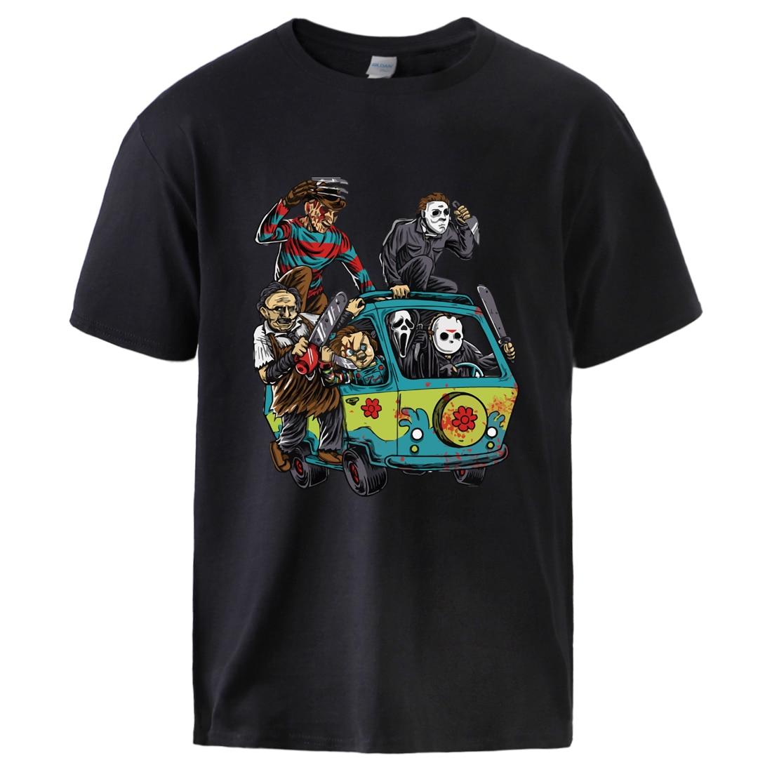 Maniac Park Horror Movie Man Summer Tshirts 2020 Male 100% Cotton T Shirt Top Theme Park Jason Clown Saw Halloween Sportswear