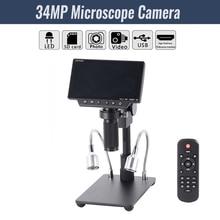 """HY 1080 5 """"화면 34mp 4 k 납땜 현미경 카메라 산업 유지 보수 디지털 디스플레이 전자 현미경 돋보기"""