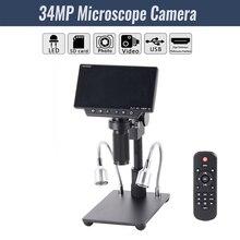 """HY 1080 5 """"Schermo 34MP 4K Saldatura Microscopi Della Macchina Fotografica Industriale Manutenzione Display Digitale Microscopio Elettronico Lente Dingrandimento"""