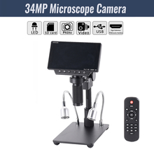 """HY 1080 5"""" Screen 34MP 4K Soldering Microscopes Camera Industrial Maintenance Digital Display Electronic Microscope Magnifier"""