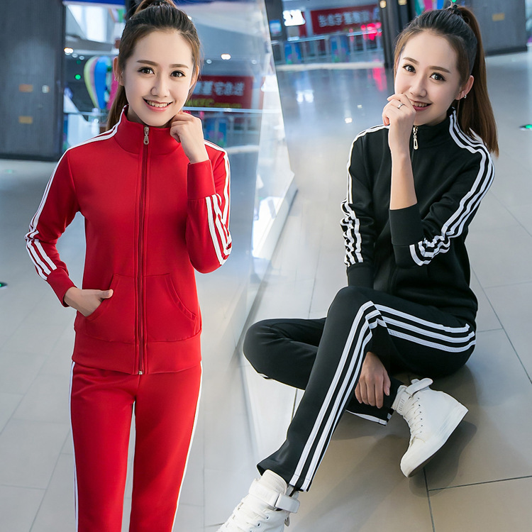 Korean-style Three Bars Sports WOMEN'S Suit 2019 Spring And Autumn Fashion Fashion Casual Running Long Sleeve Suit Slim Fit Two-