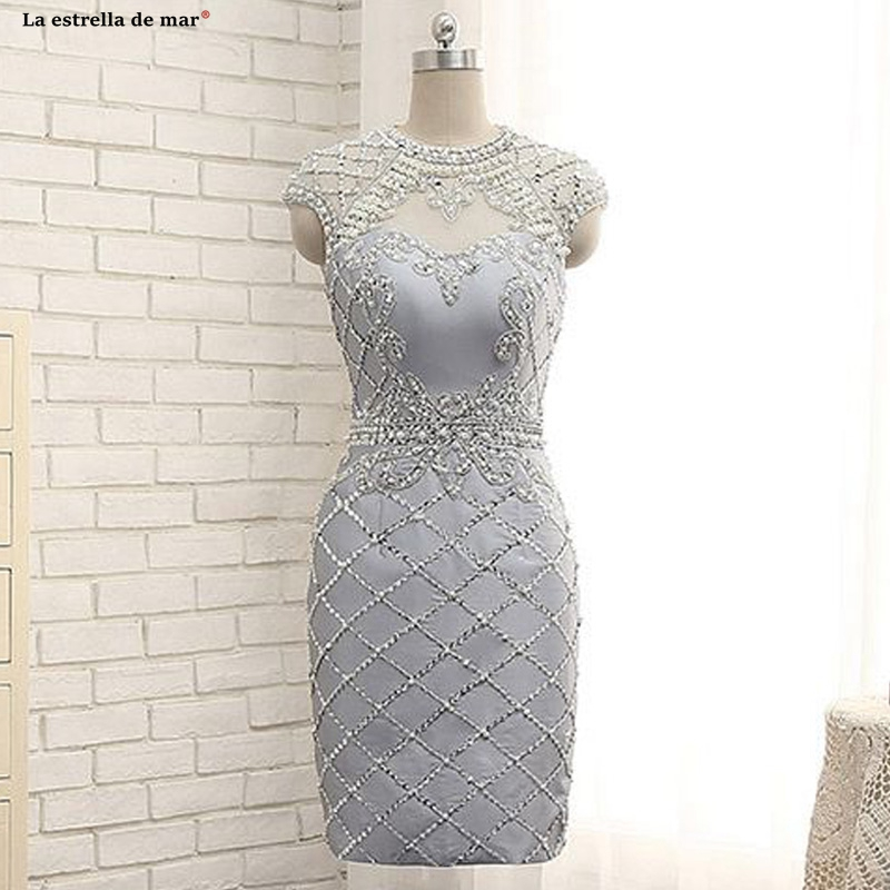 Sukienka Koktajlowa New Lace Pearl High Neck Back Open Cap Sleeve Silver Gray Sexy Mermaid Cocktail Dresses Tea Length Special