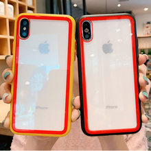 Colorful Silicone Frame Shockproof Tempered Glass Phone Case For iphone xr XS Max 8 7 6 6s Plus Transparent Full-body Back Cover(China)
