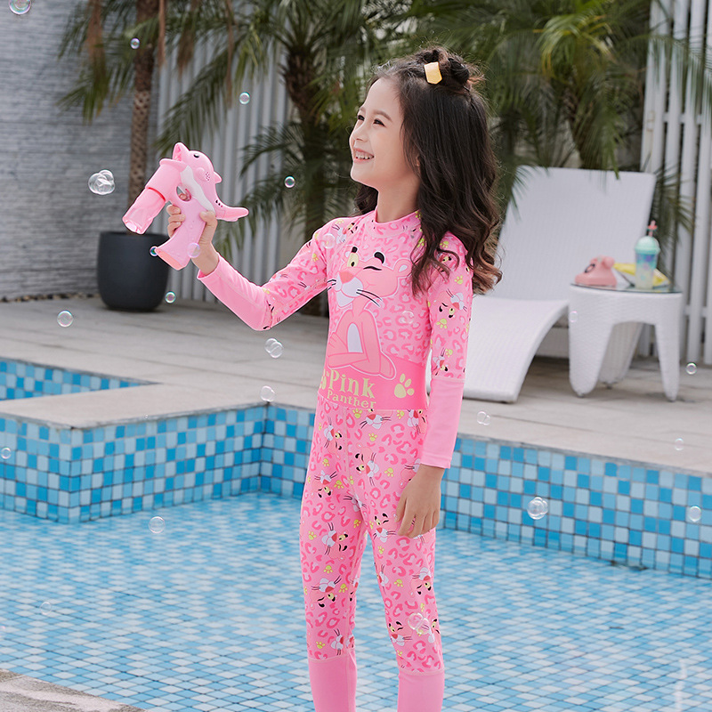 2020 New Style South Korea INS Children's Swimwear Long Sleeve Sun-resistant Children Split Type Culottes Swimsuit Girl's Swimwe