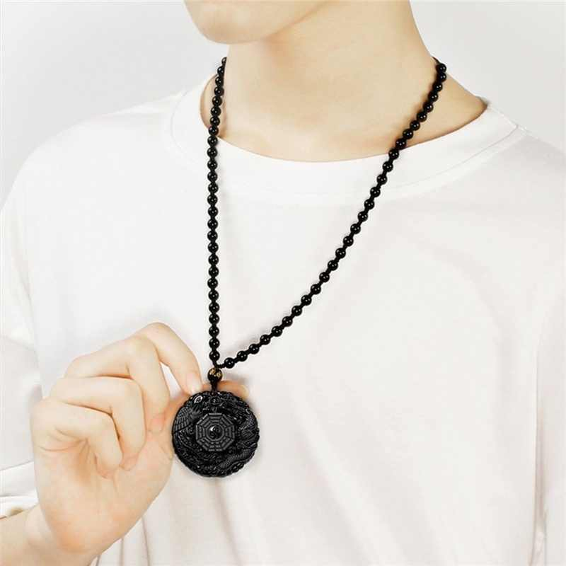Hitam Alami Seperti Obsidian Dragon Phoenix Liontin Kalung Manik-manik Pesona Fashion Perhiasan Ukiran Tangan Amulet Hadiah untuk Wanita Wanita Pria