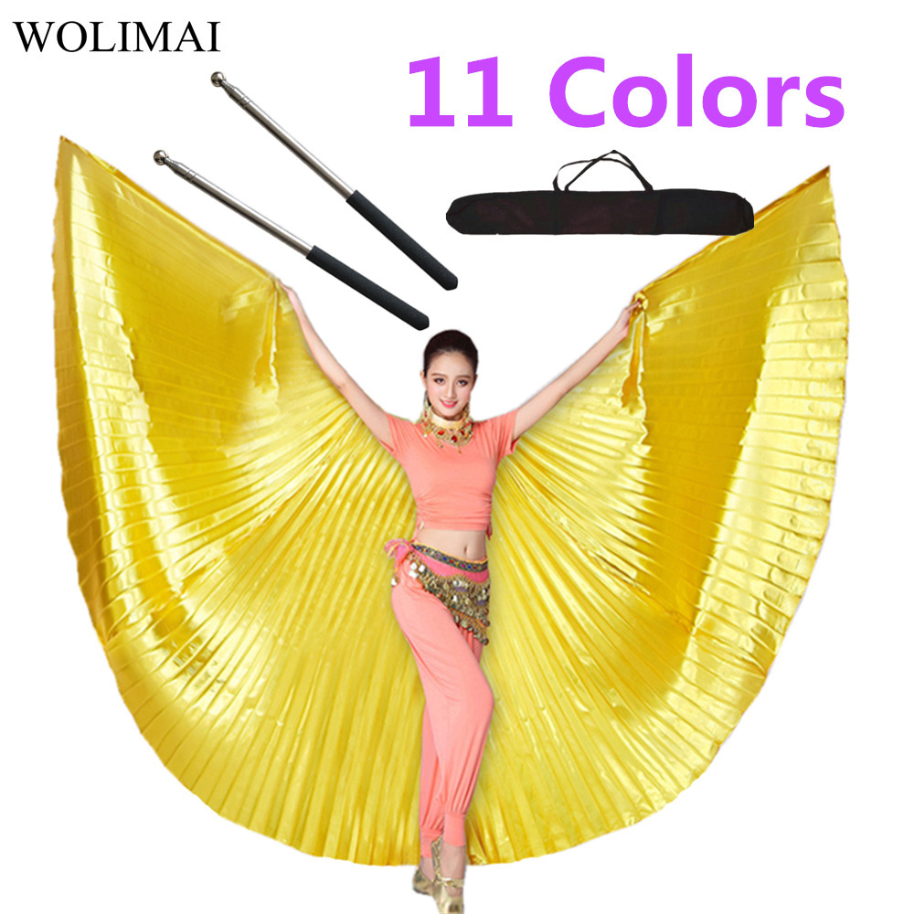 Belly Dance Isis Wings Belly Dance Accessory Bollywood Oriental Egypt Egyptian Wings Costume With Sticks Robs Adult Women Gold