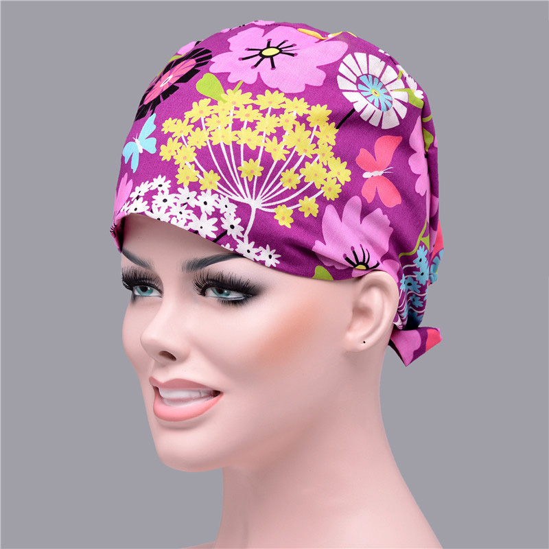 Pure Cotton Nursing Hat Double-deck Absorb Sweat Flower Printed Scrub Cap Medical Adjustable Tieback Elastic Surgical Cap
