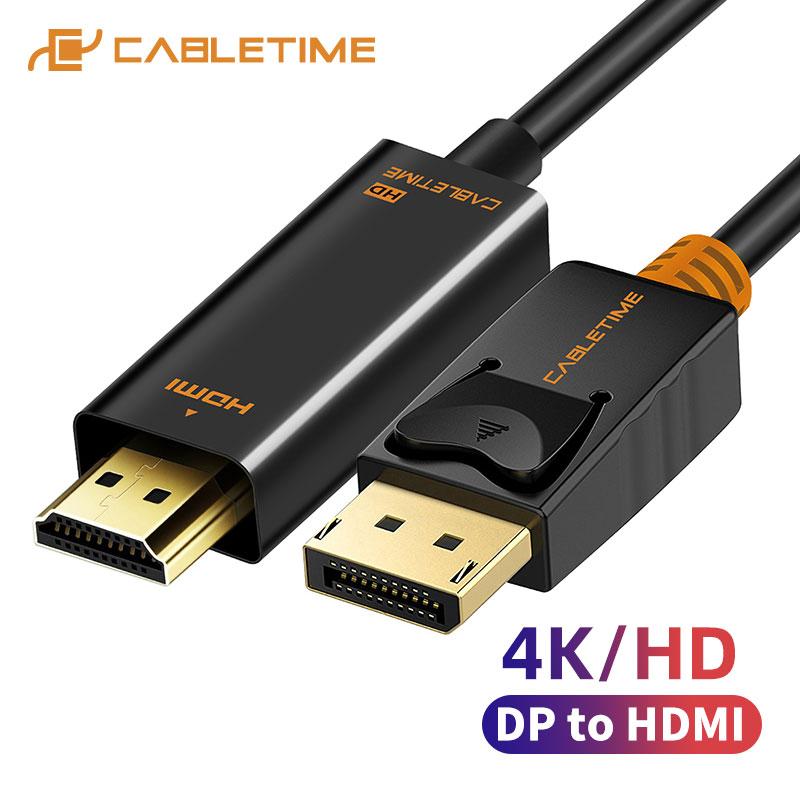 CABLETIME DisplayPort To HDMI Cable 4k Hdmi Cable DP To HDMI 1080P/4K 60hz Converter DP 1.2 For HDTV Projector Laptop PC C072