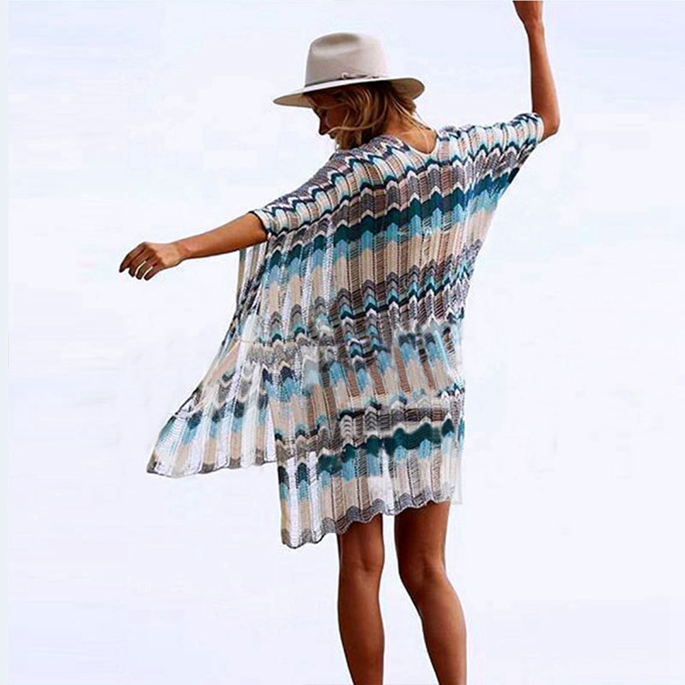 Sexy Beach Tunic Deep V Mesh Mini Dresses Knitted Cover Up 17