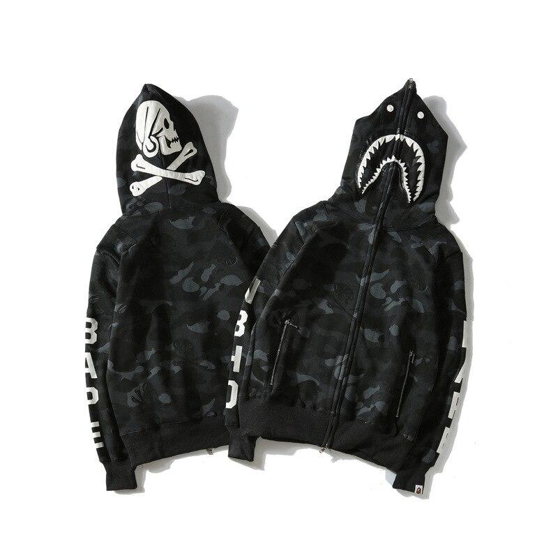 Japanese-style Popular Brand Shark Skull Dark Department Hoodie Social Fella Street Fashion Large Size Loose-Fit Coat