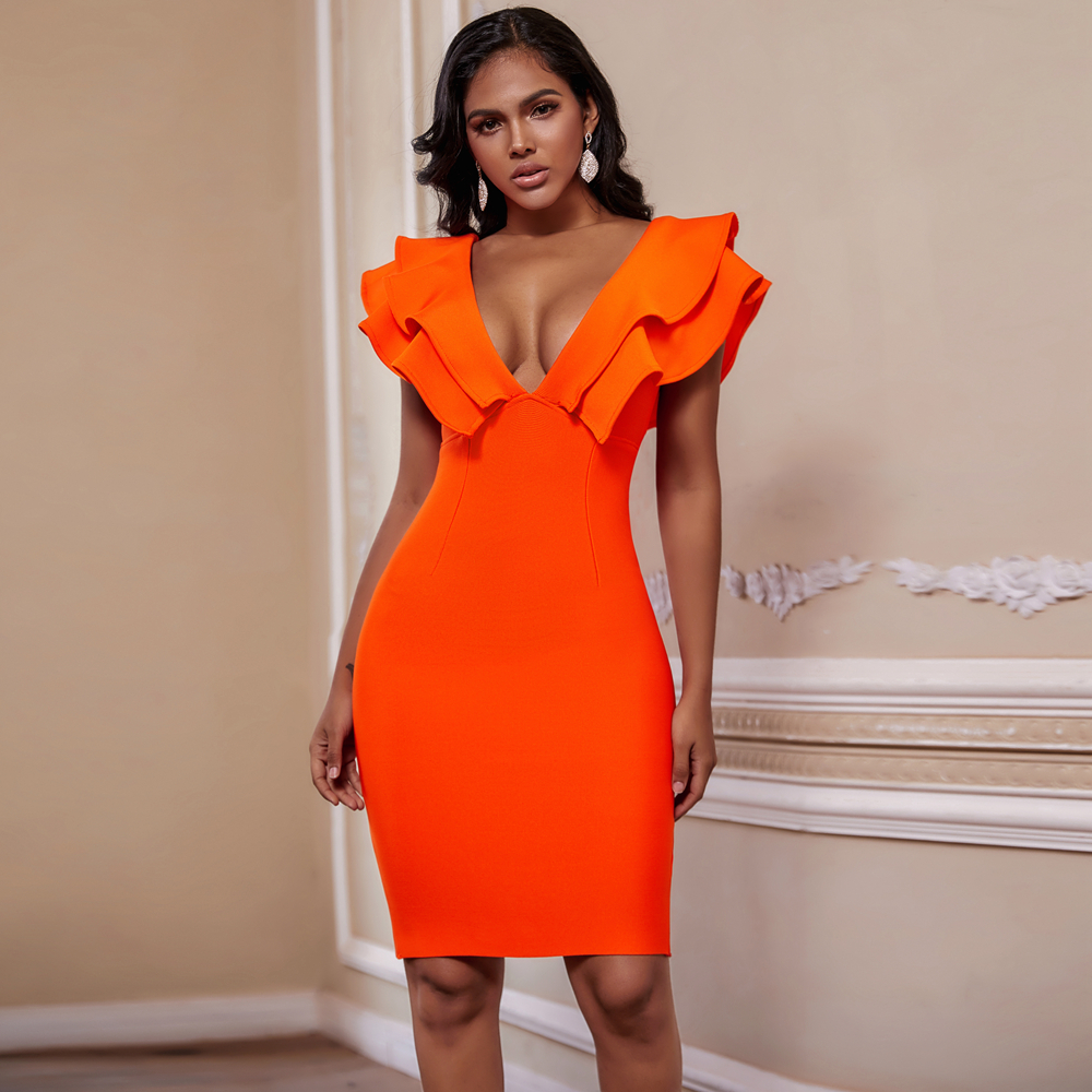 Ocstrade-vestido Bandage naranja para mujer, vestidos ceñidos sexis con volantes y escote profundo para fiesta y Club, Espalda descubierta, novedad de 2020