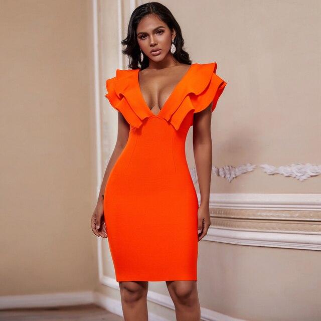 Ocstrade seksi bandaj elbise 2020 yeni kadın turuncu derin v boyun Ruffles zarif bandaj elbiseler Bodycon Backless kulübü parti elbise