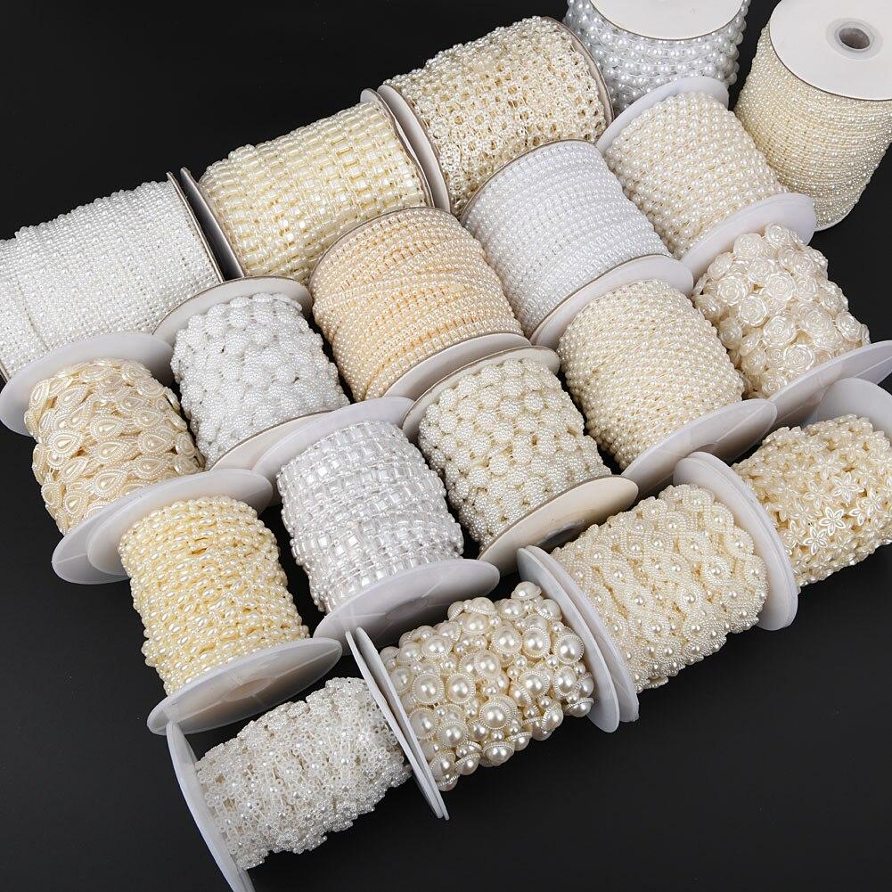 Boliao 2 jarda/lote abs marfim/branco imitação pérola plástico flatback contas corrente guarnição costurar no casamento patry jóias descobertas artesanato