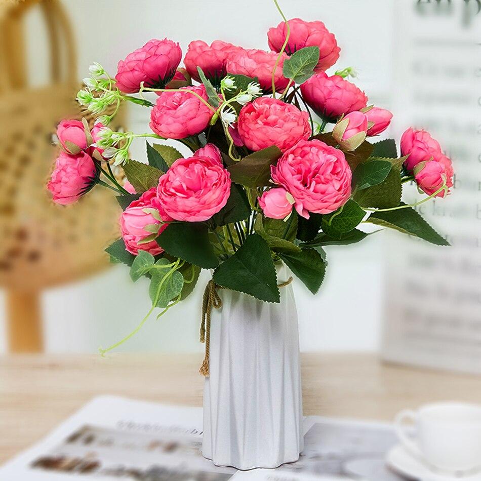 Peonías flores artificiales 5 cabezas blanco rosa seda peonías ramo flores falsas boda decoración del hogar Flor de peonía rosa