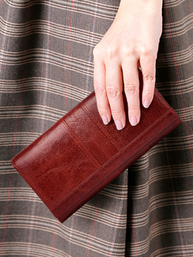 Long Purse Wallets Handbag Cell-Phone-Card-Holder Clutches-Money Female Genuine-Leather