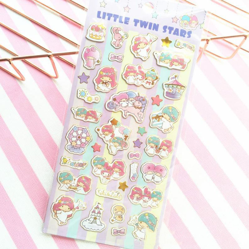 1sheet Cute Sanrio Series Little Twin Stars Stickers Diary Label Stickers Decor Scrapbooking DIY Stickers Toys For Kid Girl Gift