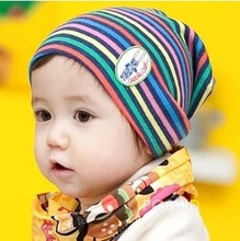 Korean New Toddler Baby Spring/Autumn Hat for Boys Girls cotton striped cartoon baby hat printed knit warm bonnet