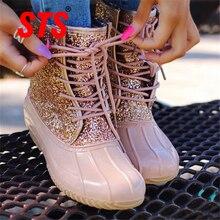 STS botas de mujer 2019 mujer Sexy moda tobillo botas de nieve Bling Sequin invierno Botas de lluvia botas de pato femenino impermeables zapatos de mujer