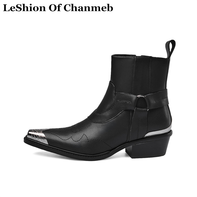 brand designer shoes real cow leather ankle boots for women metal cap toe western cowboy boots ladies booties low heels shoes 43