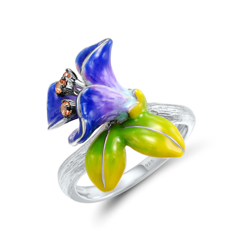 Wedding-Ring Tulip Flower Bague Crystal Silver-Colour Women NEW for Girl Gift Bridal-Bijoux
