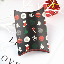 10PCS Christmas Candy Gift Box Pillow Santa Elk Cookie Origami Baking Packaging Holiday Theme Decoration
