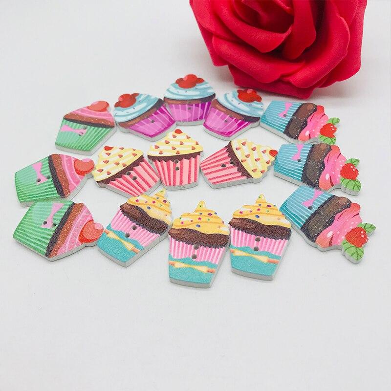 XINDONG Горячие разнообразные деревянные пуговицы цветной торт узор декоративные пуговицы 2 отверстия подходят пошив Скрапбукинг DIY 5 шт