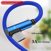 cable samsung 90 Degree Micro USB Cable 3A Fast Charger USB Cord elbow Nylon Data Cable for Samsung Sony Xiaomi Android Phone Line Power Bank (4)