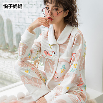 Autumn Cartoon Printed Cotton Maternity Nursing Pajamas Breastfeeding Sleepwear for Pregnant Women Breast Feeding Nightwear