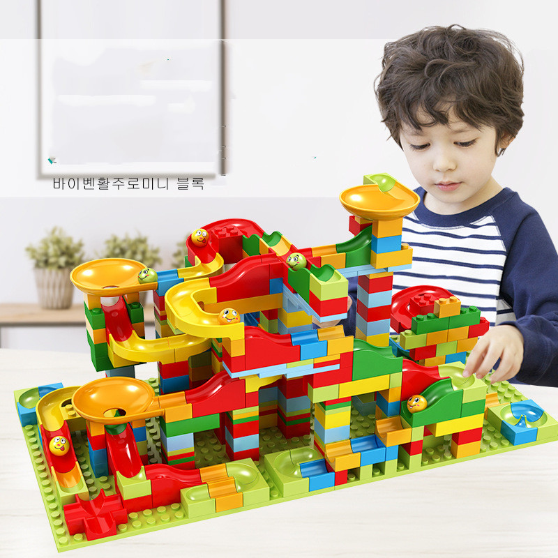 165-330pcs Mini Size Marble Race Run Building Blocks Bricks Set Educational Constructor Toys Compatible With Legoed Small Blocks