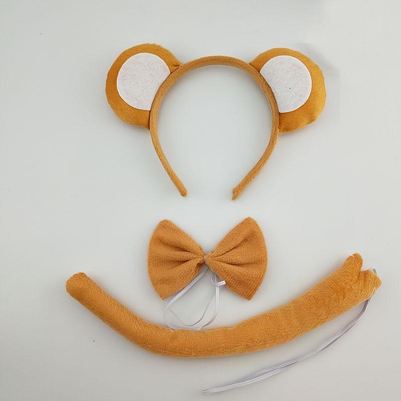 Детская повязка на голову с ушками животных для мальчиков и девочек; комплект с галстуком-бабочкой и хвостом для детей и взрослых; карнавальный костюм; вечерние аксессуары для волос - Цвет: 60