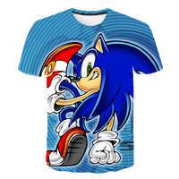 Sonic el erizo animado Anime 3D camiseta de verano para hombre Camiseta de manga corta o-cuello Tops Hipster Streetwear Drop Ship