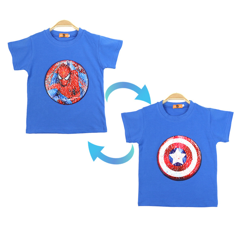 2020 Summer Baby Clothing Girls Boys cars T-Shirts Children Magic Sequin Reversible Cotton Casual Fashion T Shirt Kids Tops Tee