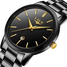 все цены на LIGE Gold Mens Watches Top Brand Luxury Fashion Business Watch Men's Stainless Steel Waterproof Quartz Watch Relogio Masculino онлайн