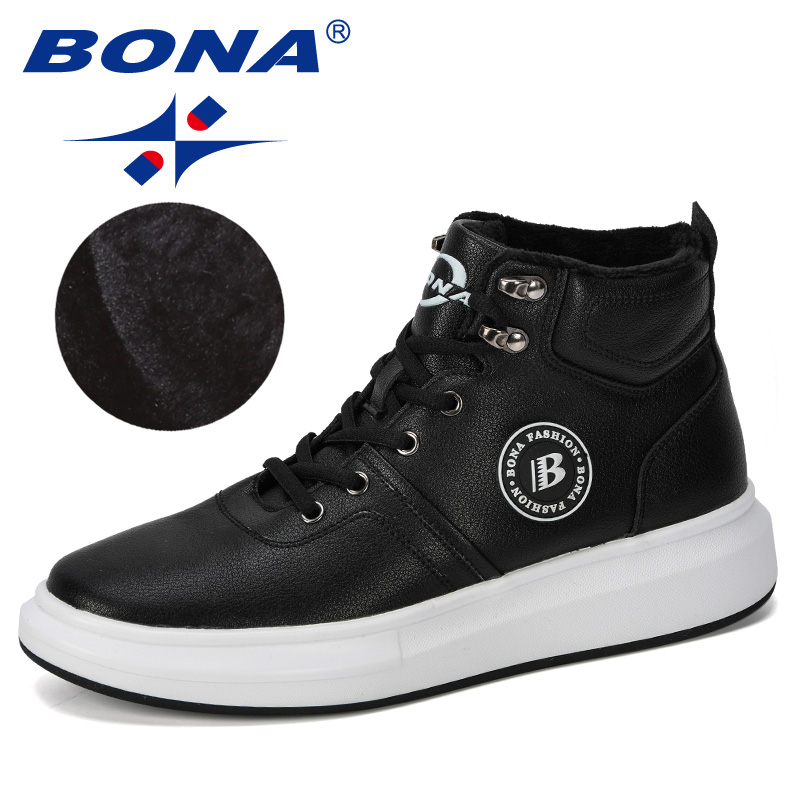 BONA 2019 New Designer Outdoor Sneaker Men Lace-Up Casual Footwear Man Fashionable Comfortable Vulcanize Shoes Male High  Top