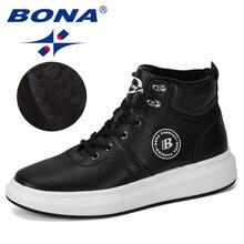 BONA 2019 חדש מעצב חיצוני Sneaker גברים שרוכים גברים מקרית אופנתי נוח לגפר נעלי זכר גבוה למעלה