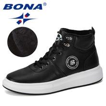 BONA 2019 nouveau concepteur en plein air Sneaker hommes à lacets décontracté homme à la mode confortable vulcaniser chaussures mâle haut