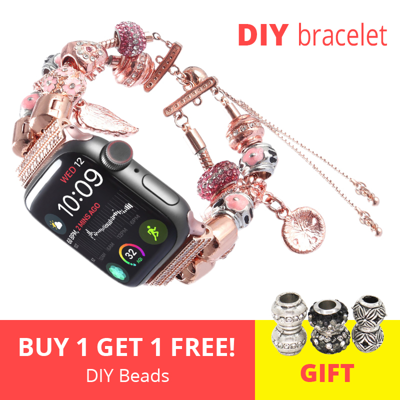 DIY Women Watch Strap For Apple Watch 4 Band 44mm Iwatch Sport Bands 42mm Accessories 40mm Series 4 3 2 Bracelet 38mm Watchband