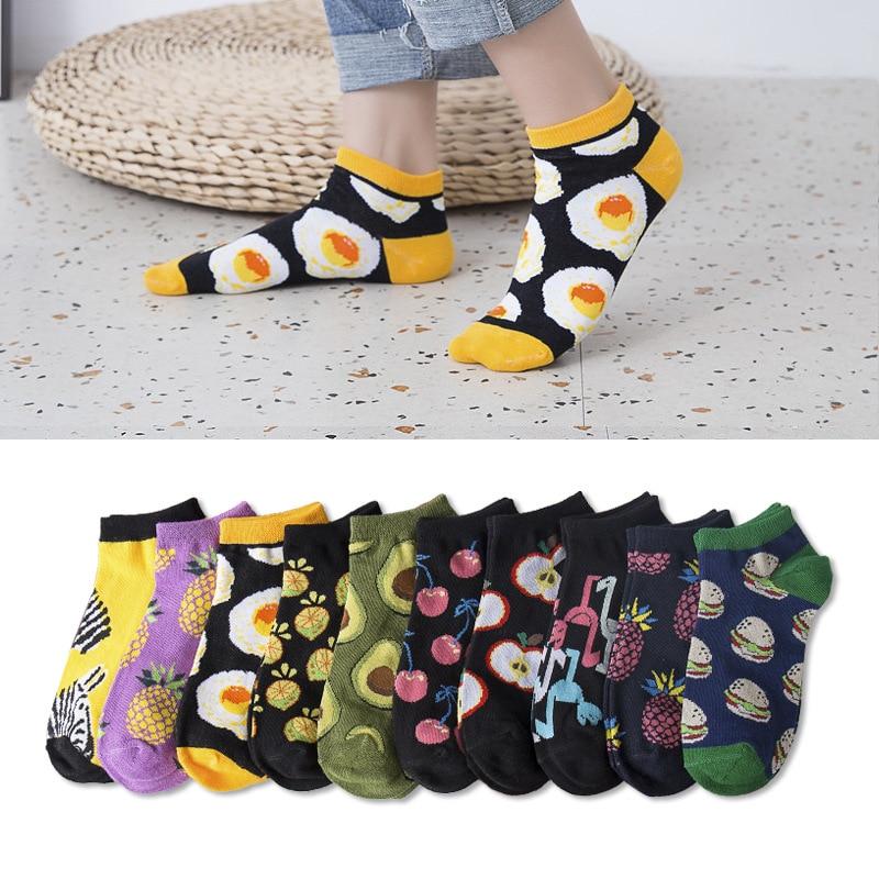 Fruits Short Socks Funny Womens Girls Crew Cotton Cute Casual Harajuku Fashion Short Funny Socks