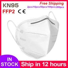 Masque de protection KN95 FFP2, livraison rapide, Anti-buée, respirant, 5 couches filtrantes