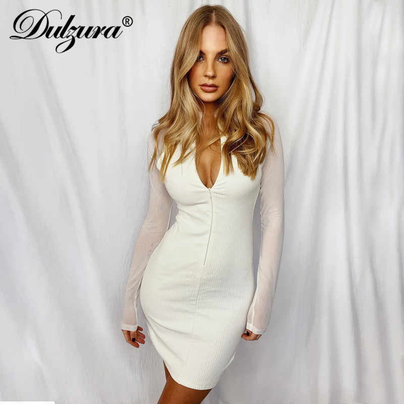Womens Lady Lace-up Collar Knitted Sweater Stripe Long Sleeve Bodycon Mini Dress