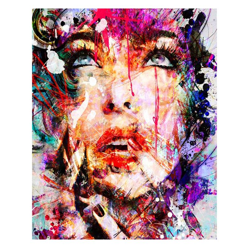 Face Digital Oil Painting By Numbers Canvas Wall Picture DIY Hand Painted Decor R7RC