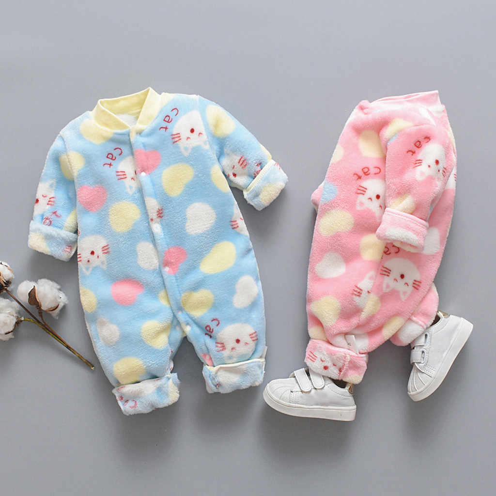 Newborn Infant Baby Romper Kids Clothes Cartoon Bear Fleece Warm Romper Jumpsuit Baby Boy Girls Winter Soft Pajamas Cloth 0-18M