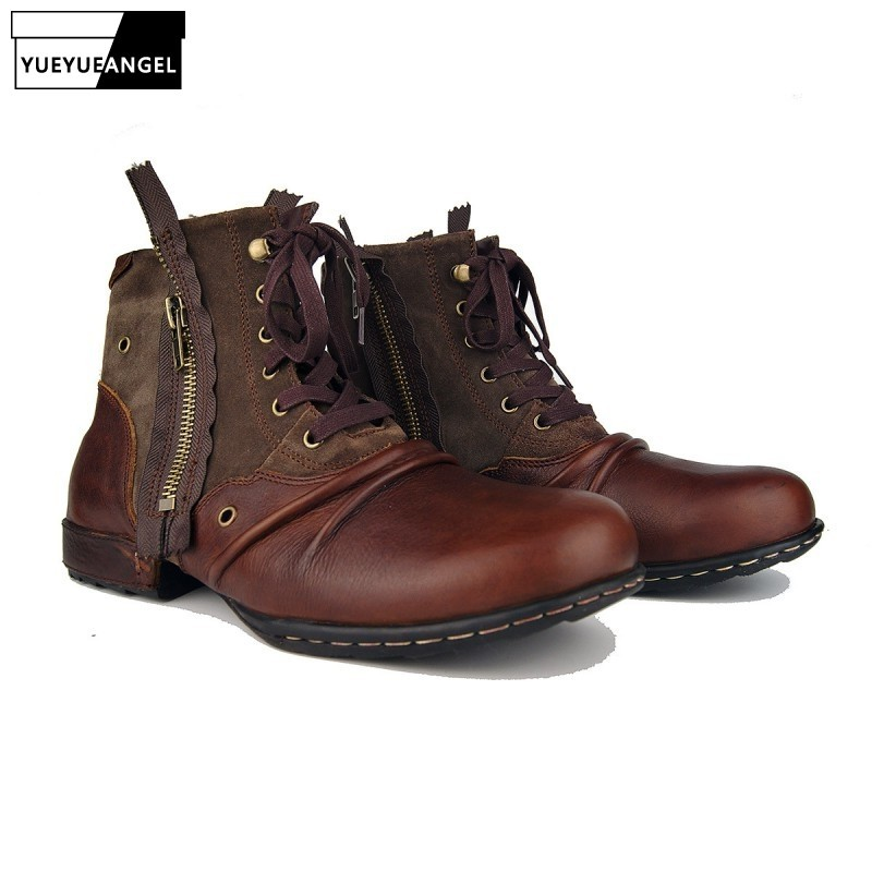 New Zipper Boots Man Genuine Leather Fashion Working Shoes Man 2020 Retro Autumn Winter Lace Up Round Toe Military Boots