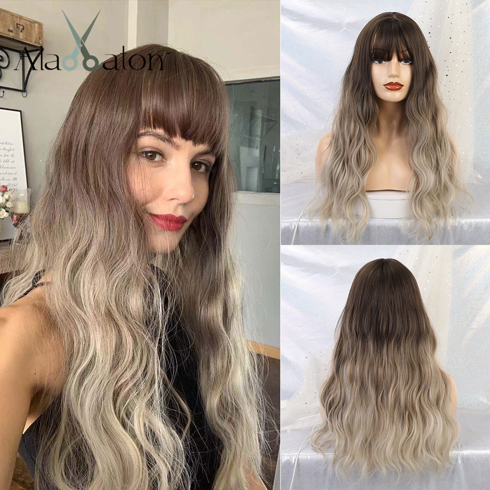 ALAN EATON Wavy Hair Cosplay Long Wigs With Bangs For Women Ladies Heat Resistant Ombre Dark Brown Blonde Silver Synthetic Wigs