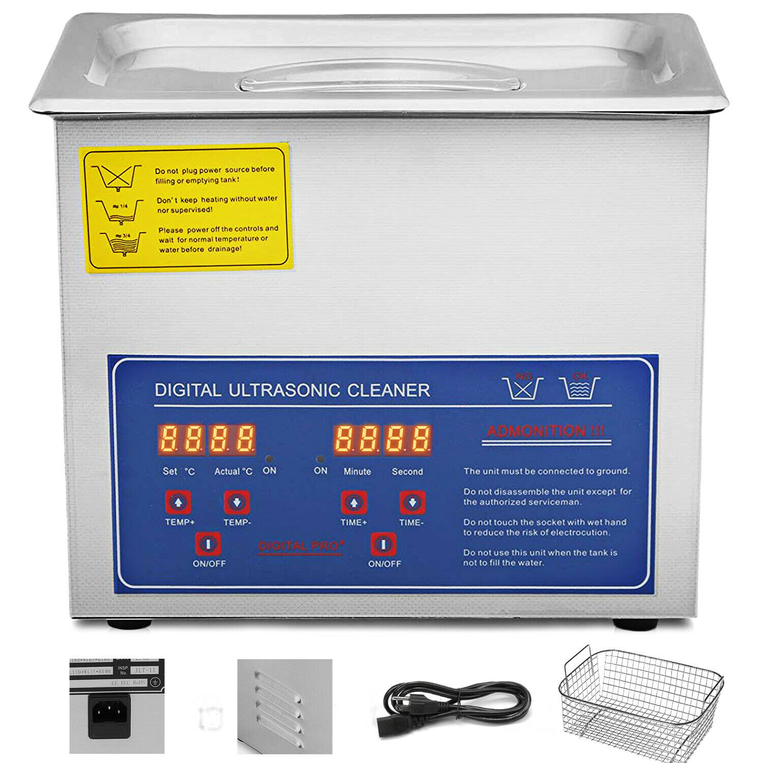 3L Ultrasonic Cleaner Machine Stainless Steel Ultrasonic Cleaning Machine Digital Heater Timer Jewelry Cleaning For Commercial