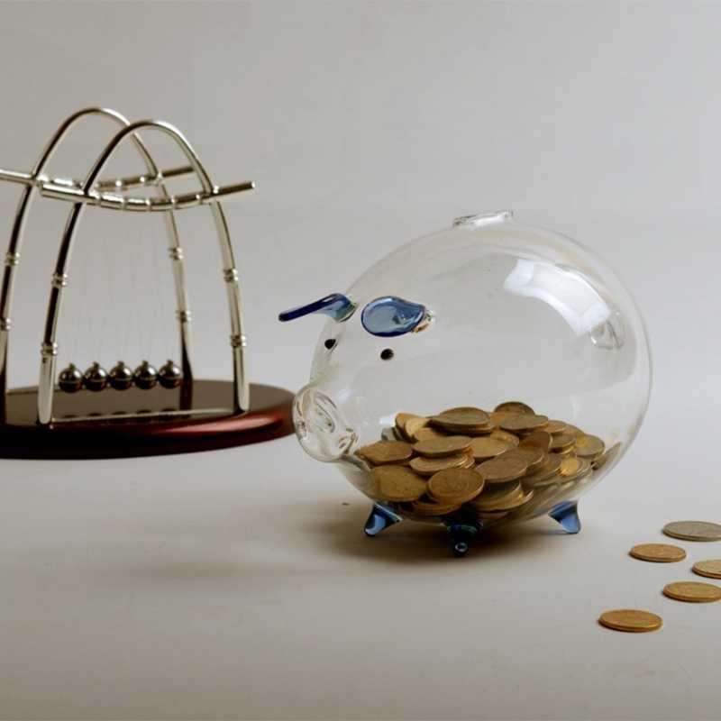 2 uds. Hucha hucha cajas de dinero Caja de Ahorro de monedas lindo recuerdo de cristal transparente regalo de cumpleaños para niños-azul y rosa