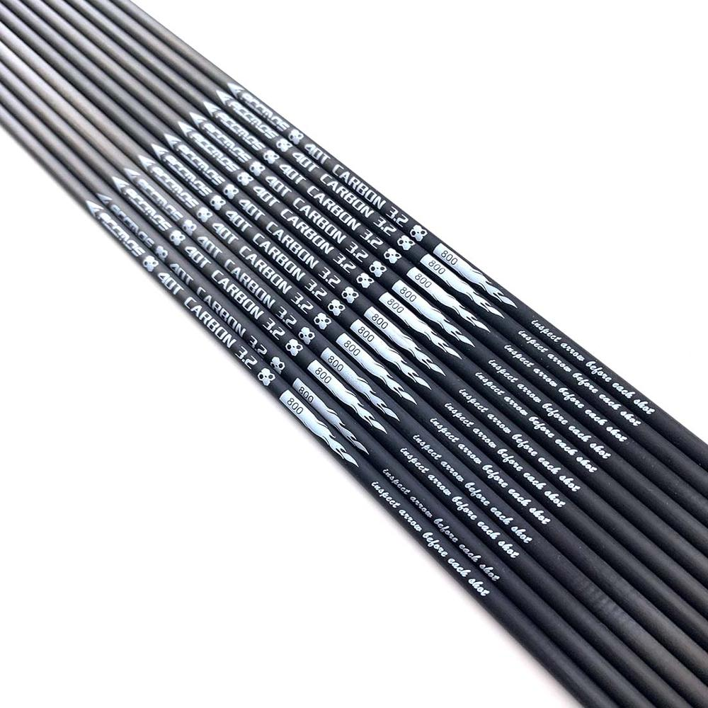 12pcs Hot ID 3.2mm 40T Carbon Arrow Shaft Spine 350 400 450 500 550 600 650 700 750 800 850 900 1000  Archery For Bows Shooting