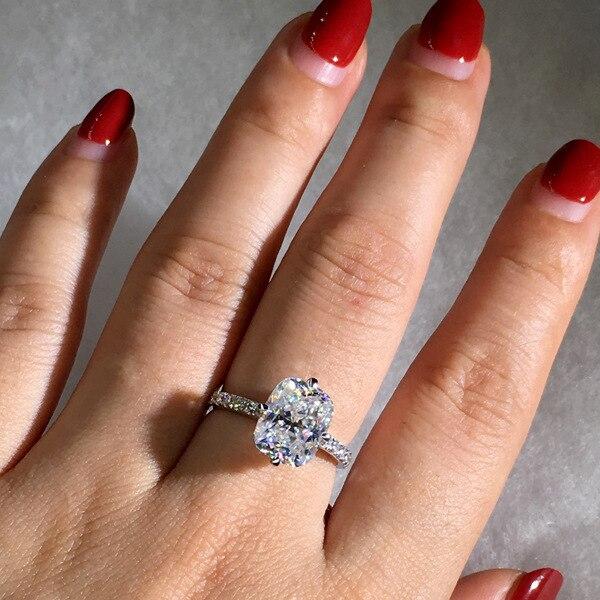 925 Silver Color Princess Square Diamond Ring Luxury Anillos Gemstone white Topaz 925 Jewelry 1 carat diamond Ring for Women